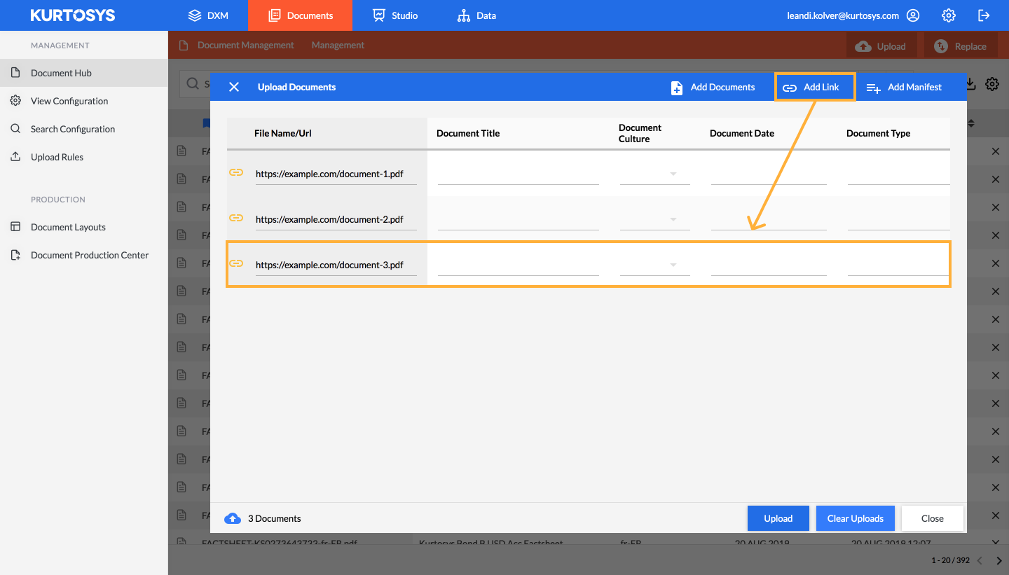 How to add linked documents to the Document Hub 4