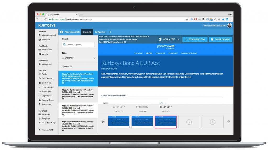 Introducing Snapshots, a new compliance feature in Kurtosys 1