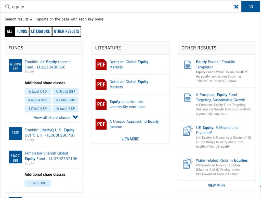 Franklin Templeton Asset Management Website Site Search Feature
